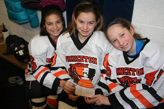 Erin Campbell and her Princeton Tiger Lilies teammates and honorary member, Flat Stanley Cup: Photo submitted by Janice Campbell