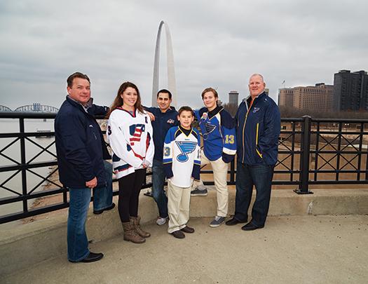 Scott Sanderson, Jincy Dunne, Steve Cash, Patrick Johnson, Luke Radetic & Keith Tkachuk at a site overlooking the famed Gateway Arch in St. Louis.