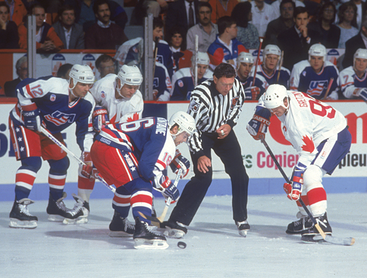 Pat Lafontaine faces off against Wayne Gretzky during the 1991 Canada Cup.