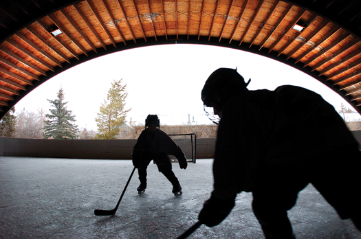 Local hockey players get in a little free skating time at Bogart park in Bozeman. The organized practices and games for the 200-member association are actually played at Haynes Pavillion.