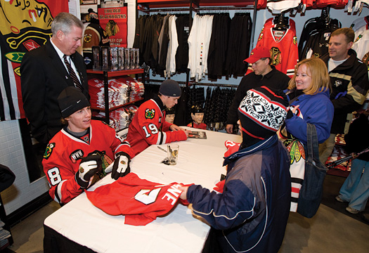 Blackhawks fans braved the bitter cold of a Chicago winter to wait in line for autographs from Patrick Kane and Jonathan Toews.