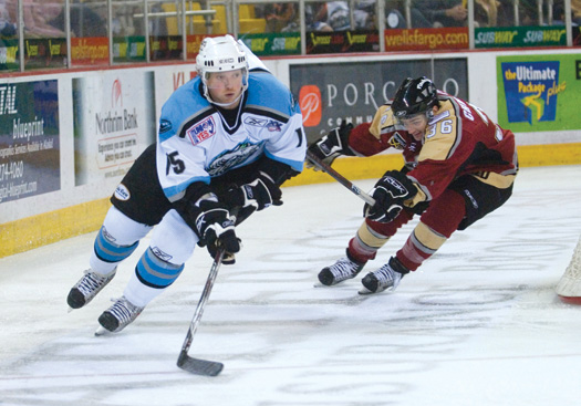 Bryan Miller is slated to start the 2008-09 season with the Alaska Aces of the East Coast Hockey League but has his sights set on one day playing in the NHL.