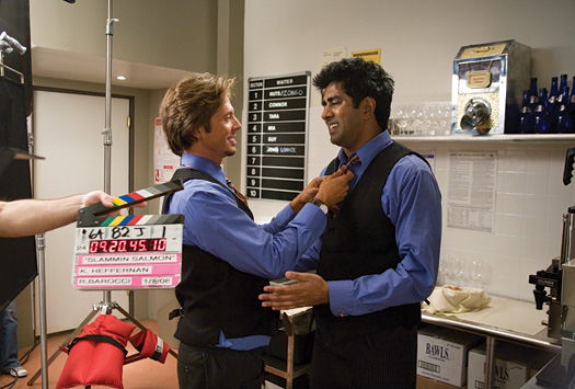 Eric Stolhanske, left, with Jay Chandrasekhar on the set of their new movie, 'The Slammin' Salmon.'