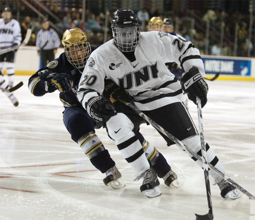 Paul Thompson, University of New Hampshire - The freshman from Derry, N.H., played 35 games with the Wildcats last season. Prior to joining UNH, he played for the New Hampshire Monarchs of the Eastern Junior League.