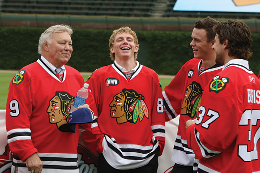 Blackhawks past (Bobby Hull) met the Blackhawks present and future (Patrick Kane, Jonathan Toews and Adam Burish) at Wrigley Field, the site of the NHL Winter Classic 2009.