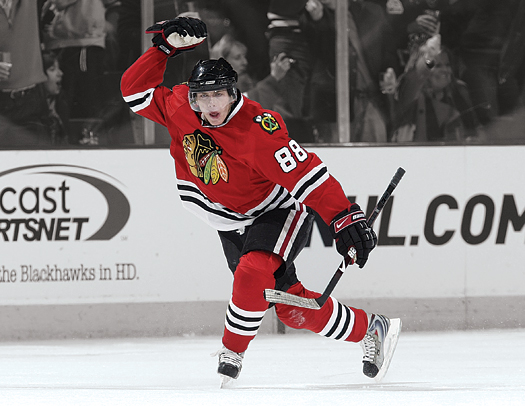 Patrick Kane, 20, shows off his youthful exuberance after scoring a goal in the playoffs.