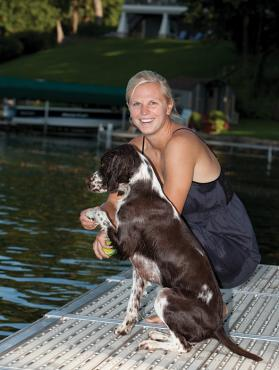 Her time away from the game has given Natalie Darwitz more time to spend with Oakley, her Springer Spaniel.