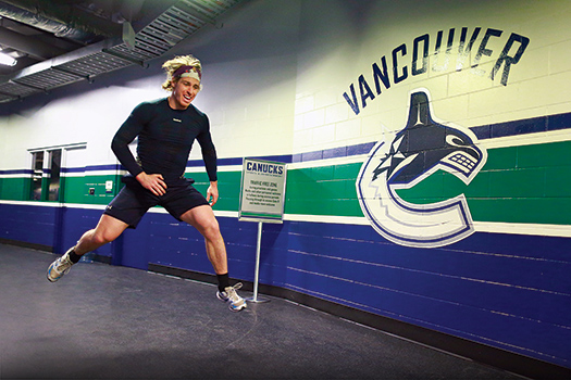 David Booth goes through his pregame routine, which includes dryland training, to prepare for an NHL game during the 2013-14 season.