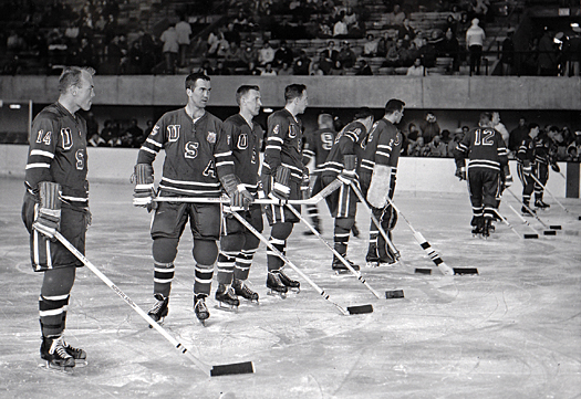 The U.S. Olympic Team lines up to take on the USSR in Squaw Valley, Calif.