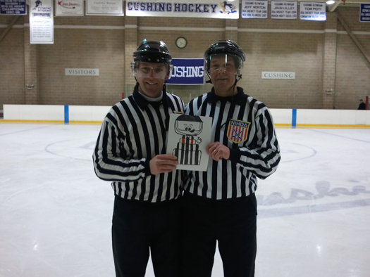 Flat Stanley Cup continues to spread the word for refs to Wear A Shielf with Mike Sheeran & Jim Hayes: Photo submitted by Mike Sheeran