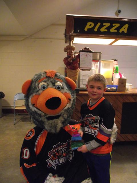 Liam McCusker & Flat Stanley Cup with Chilly of the Knoxville Ice Bears: Photo submitted by Rhonda McCusker