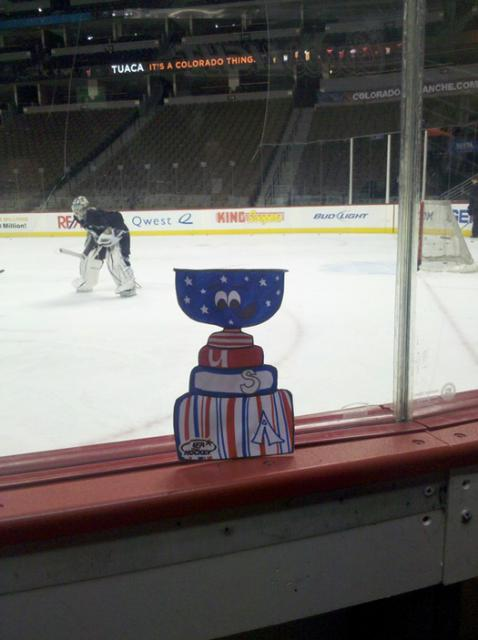USA Hockey Magazine's Flat Stanley Cup takes in an Avs practice at the Pepsi Center: Photo submitted by USA Hockey Magazine