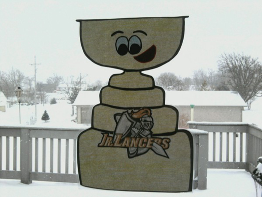Flat Stanley Cup is ready for a snowy trek to South Dakota with the Jr. Lancers: Photo submitted by Stacy Peterson