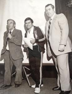 Ron DeGregorio,  seen here with Minnesota North Stars goalie Gump Worsley and longtme U.S. coach Dave Peterson.