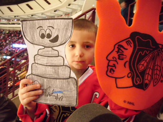 Jack O'Hara takes his Flat Stanley Cup to the United Center for a Blackhawks game vs. the Nashville Predators: Photo submitted by Patrick O'Hara