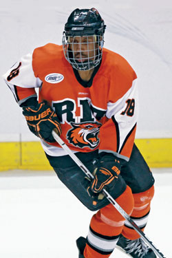 After honing his skills with the Green Bay Gamblers, Cameron Burt is now a key member of the Rochester Institute of Technology Tigers.