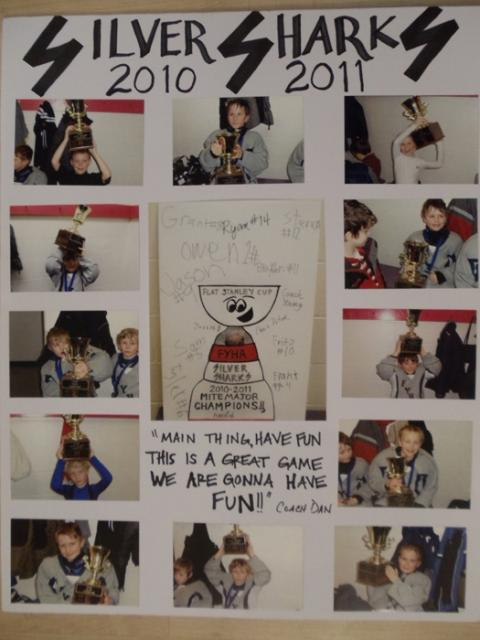 The Silver Sharks went undefeated to win the House and City House Tournament with the help of this poster (and the Flat Stanley Cup).: Photo submitted by Joe Haigerty