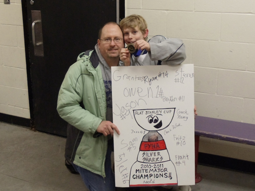 The Silver Sharks all got to have their name on this (Flat) Stanley Cup: Photo submitted by Joe Haigerty