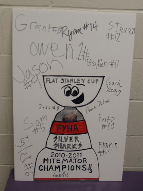 According to Silver Sharks team manager, Joe Haigerty, the kids enjoyed signing the Flat Stanley Cup more than the actual medals!: Photo submitted by Joe Haigerty
