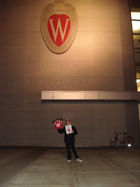 Matt Gellert takes Flat Stanley to the Kohl center to see the Badgers vs Gophers Border Battle game.: Photo submitted by Suzanne Doody