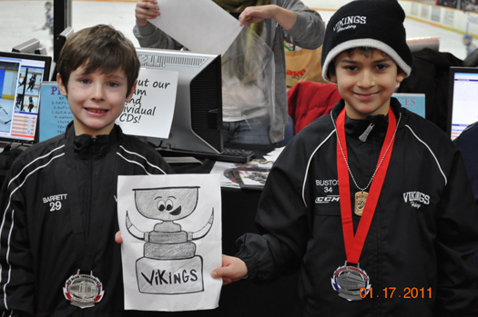 Here's Nolan Barrett and Kameron Bustos of Arctic Ice rink in Orland Park, Ill. They brought Stanley to the Carmel Ice Skadium in Carmel Ind., for the Big Bear tournament, coming in a fighting second.: Photo submitted by Beth Bustos