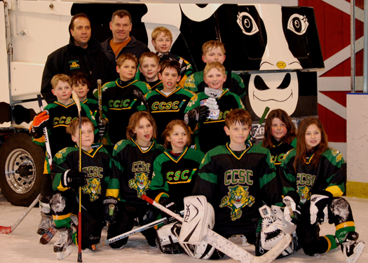 "Here is Flat Stanley-Cup hanging out at the ""barn"" with the Chester County Skating Club Cougars mite team.: Photo submitted by Renee Masters"