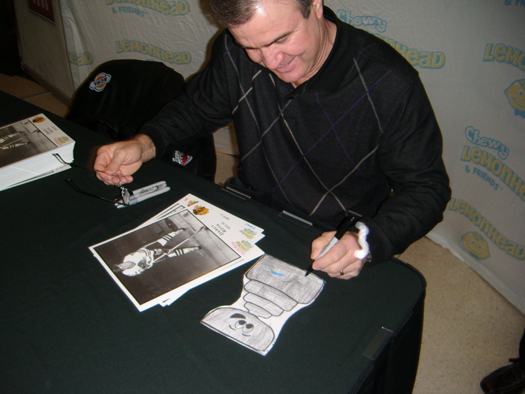 13 year NHL veteran, Darcy Rota, signs Flat Stanley Cup: Photo submitted by Patrick O'Hara