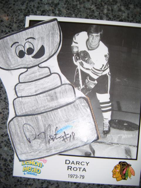 Darcy Rota's signature on (Flat) Stanley Cup: Photo submitted by Patrick O'Hara