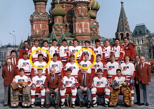 Ed Olczyk (Left) and  Dave Jensen (Right) at the 1986 IIHF World Championship in Moscow
