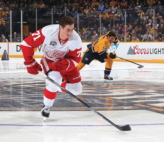 Dylan Larkin showed off his speed by breaking away from local crowd favorite Roman Josi of the Nashville Predators before eclipsing a 20-year mark in the Fastest Skater event during the NHL All-Star Skills Competition.
