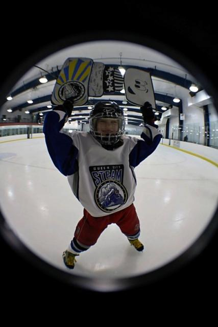 Kaleigh Cooke, who plays ice hockey for the Queen City Steam in Cincinnati took Flat Stanley Cup to Indianapolis with her select team, beating the Indy Racers.: Photo submitted by Carrie Lynn Cooke