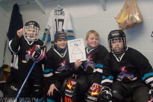 Members of the Jr. Mudbugs Mites travel team took Flat Stanley Cup with them from Shreveport to Lafayette Louisiana for a tournament.: Photo submitted by Tonya Welker