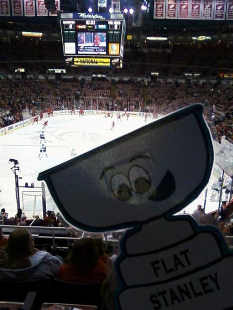 Flat Stanley Cup cheers on the Detroit Red Wings at a game in early March.: Photo submitted by Connie and Ricky Fletcher