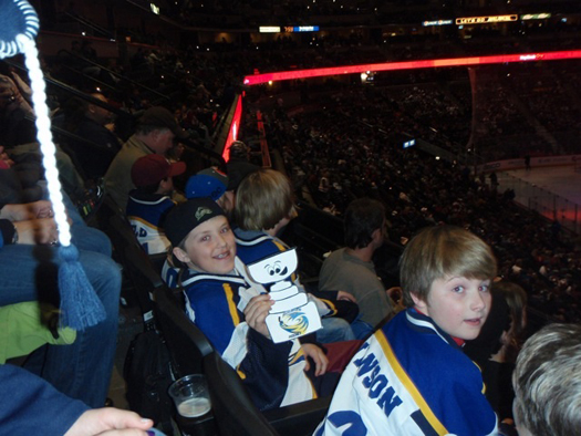 The Sheridan Squirt Hawks took Flat Stanley Cup with them to take in an Avalanche game: Photo submitted by John Chase
