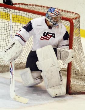 John Gibson #31 of Team USA skates against Team Finland at the Lake Placid Olympic Center on August 8, 2011 in Lake Placid, New York. Team USA defeated Team Finland 5-2. (Photo by Bruce Bennett/Getty Images)