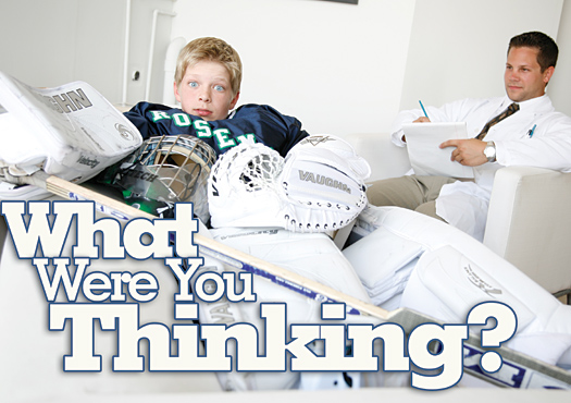 "Getting inside the head of any goaltender is easier said than done. Here, ""Dr."" Justin Johnson runs through a battery of psychological tests to see what makes 12-year-old goaltender Andrew Sprang tick."