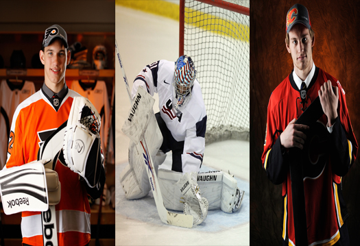 Anthony Stolarz, John Gibson and Jon Gillies represent the next wave of young American goaltenders who may become future NHL stars. (Photos by Getty Images)