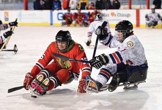 In addition to some spirited competition from a local sled hockey team, the USA Warriors had a special meet and greet with the Chicago Blackhawks.