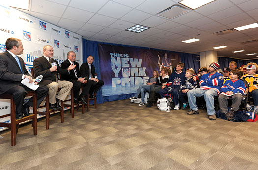 Former N.Y. Rangers Brian Mullen, Nick Fotiu and Adam Graves are joined by Rangers TV personality John Giannone during a youth hockey forum.