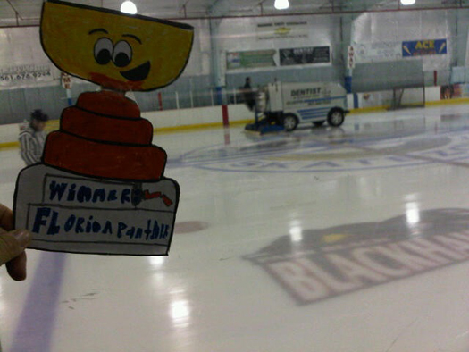 Flat Stanley Cup making sure the zamboni has the ice all cleared during intermission