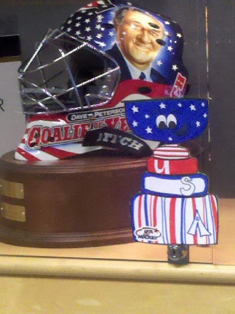 Our Flat Stanley Cup roams around the USA Hockey offices for some photo-ops.: Photo submitted by USA Hockey Magazine