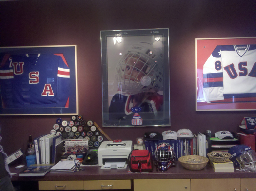 Flat Stanley Cup greeting visitors at the USA Hockey National Headquarters in Colorado Springs, Colo.: Photo submitted by USA Hockey Magazine