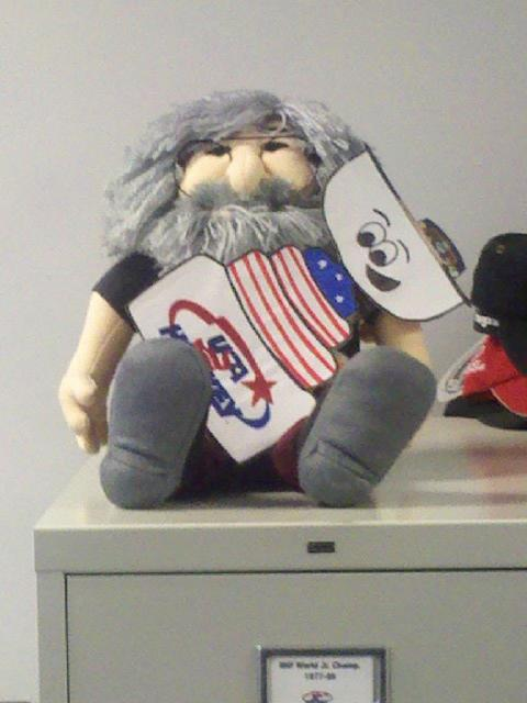 Even Jerry Garcia is a Flat Stanley Cup fan!: Photo submitted by USA Hockey Magazine