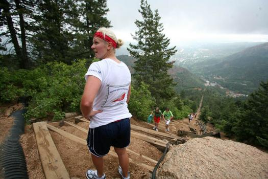 Natalie Darwitz looks at the climb ahead
