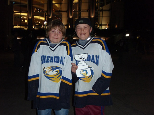 Jack, Soren &amp;amp; Flat Stanley Cup pose for a photo outside of the Pepsi Center: Photo submitted by John Chase