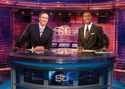 SportsCenter anchors John Buccigross and Stan Verrett on the set of the ESPN studios in Bristol, Conn.
