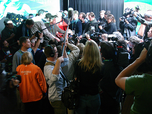 Lindsey Vonn was tough to get a clean look at through the wall of media personnel.