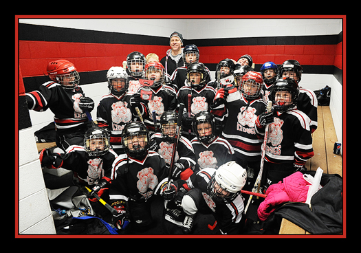 The Glasgow Ice Dawgs getting ready for their Mite Jamboree. The kids all really had a great time!: Photo submitted by Carin Barnett