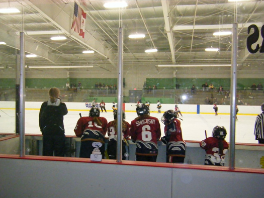 Flat Stanley Cup watches the Susquehanna Rapids U10 team from the bench at the MAWHA Jamboree: Photo submitted by Robert Sohlberg