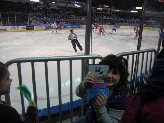 LIzzie Mallinson shows off her Flat Stanley Cup as she cheered on the Peoria Rivermen.: Photo submitted by Jodie Mallinson